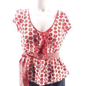 Anthro Odille polka dot peplum blouse